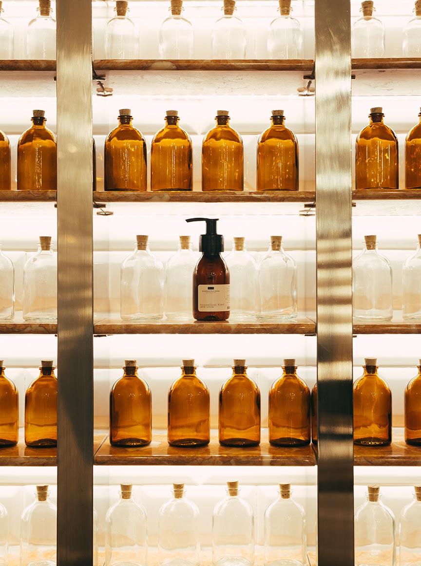 Bottles on a shelf at 212.2 Ricardo Villa Nova Hair Doctors clinic